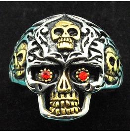 Vintage Steampunk Red Eye Skull Ring