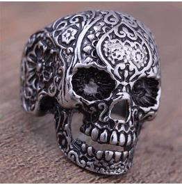 Vintage Steampunk Engraved Skull Ring