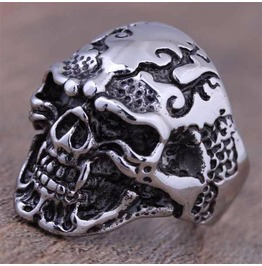 Vintage Steampunk Cracked Skull Head Ring