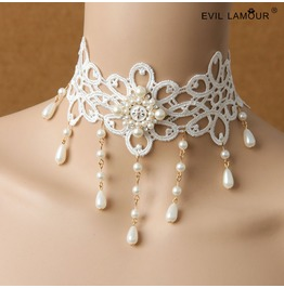 Handmade White Lace Pearl Gothic Necklace Jl 117
