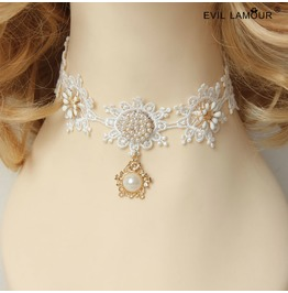 Handmade White Lace Pearl Gothic Necklace Jl 79