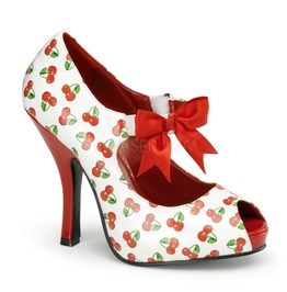 Pin Up Couture Cutipie White Red Patent Mary Jane Shoe With Cherries Prin