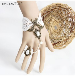 Handmade White Lace Jewelry Bracelet Ring Ws 293