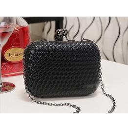 Black Mini Woven Clutch Handbag Shoulder Handbag