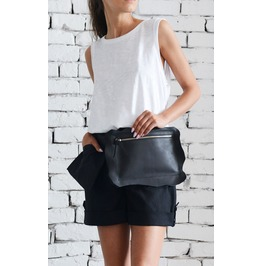 Genuine Leather Black Clutch/Extravagant Mini Bag/Black Leather Tote Bag