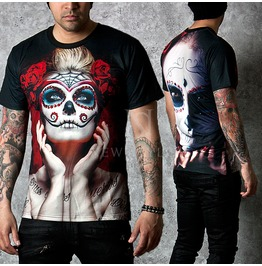 Goth Pierrot Printed Black Slim Round T Shirts 543