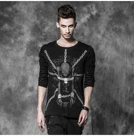 Mens Black Gothic Punk Chained Skeleton Long Sleeved T Shirt $9 To Ship