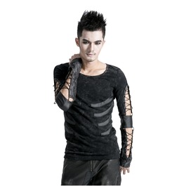 Mens Gray Ribcage Washed Gothic Punk Lace Up Long Sleeved T Shirt $9 To Ship