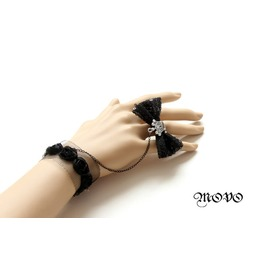 Handmade Black Lace Bowknot Gothic Bracelet Ring Br 4