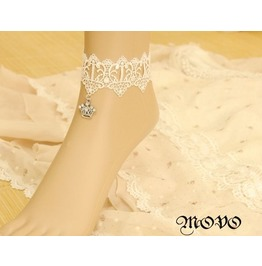Handmade White Lace Crown Ankle Bracelet Nk 8