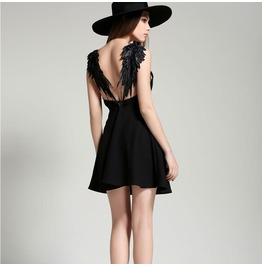 Sexy Backless Lace Wings Short Dress
