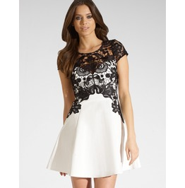 Black Lace Patchwork Short White Dress