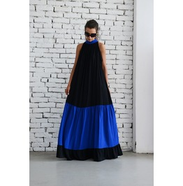 Black Maxi Dress/Oversize Black And Blue Kaftan/Plus Size Dress/Long