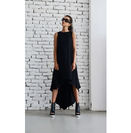 Black Asymmetric Dress/Oversize Loose Tunic/Plus Size Black Dress