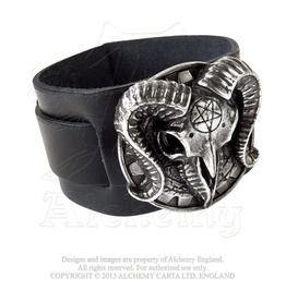 3b260dad634 Gears Of Aiwass Alistair Crowley Ram Head Pentacle Leather Wrist Band