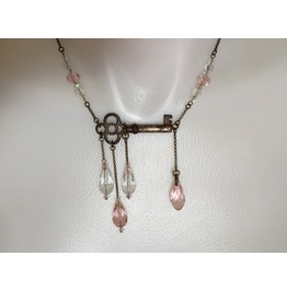 Antique Key Necklace With Dangling Crystal Beads