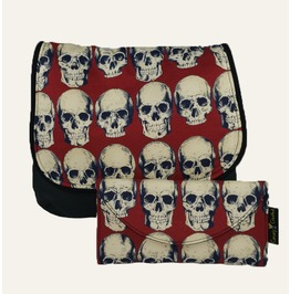 Rad Skulls On Red Kelsi Ii Cross Body Purse Mini Messenger With Wallet