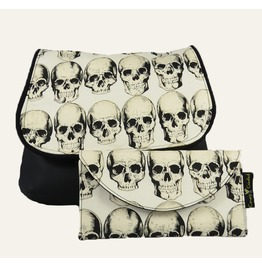 Rad Skulls On Natural Kelsi Ii Cross Body Purse Mini Messenger With Wallet