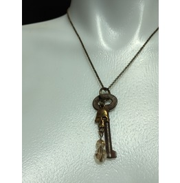 Antique Barrel Key Pendant With Brass Skull And Crystal Charm