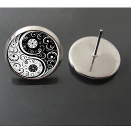 Vintage Steampunk Yin Yang Stud Earrings
