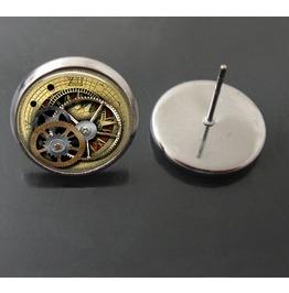 Vintage Steampunk Gear Wheel Stud Earrings
