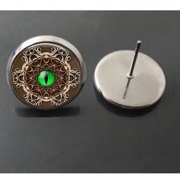 Vintage Steampunk Ornate Green Eye Stud Earrings