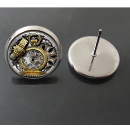 Vintage Steampunk Antique Clock Stud Earrings