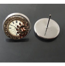 Vintage Steampunk Antique Clock Gear Wheel Stud Earrings