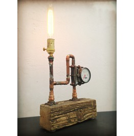 Found Object Light Sculpture Up Cycled Weathered Wood Lamp