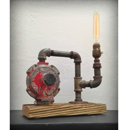 Found Object And Weathered Wood Light Sculpture Up Cycled Lamp