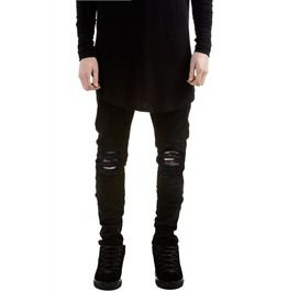 Ripped black biker jeans men brand skinny destroyed denim biker pant jeans