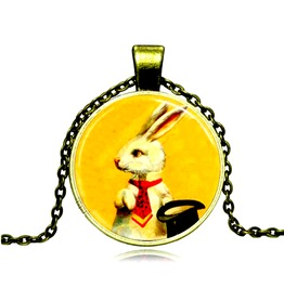 Striking Bronze Metal Magic Lucky White Rabbit Glass Pendant