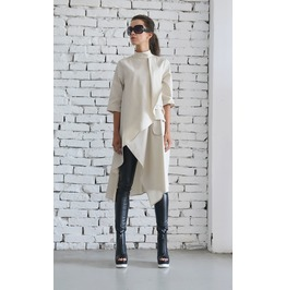 Beige Asymmetric Shirt/Extravagant Oversize Tunic/Half Sleeve Casual Top