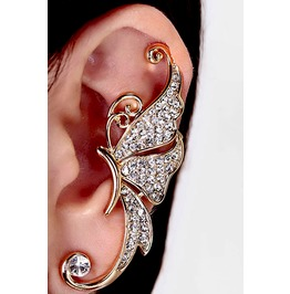 Awesome Gold Colour Metal Ear Cuff Attachment With Diamante's Earring X 1
