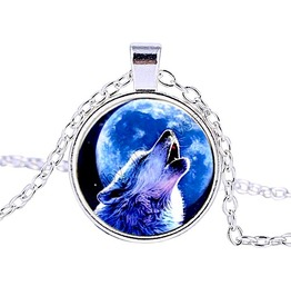 Striking Silver Metal Howling Wolf At Moon Glass Pendant