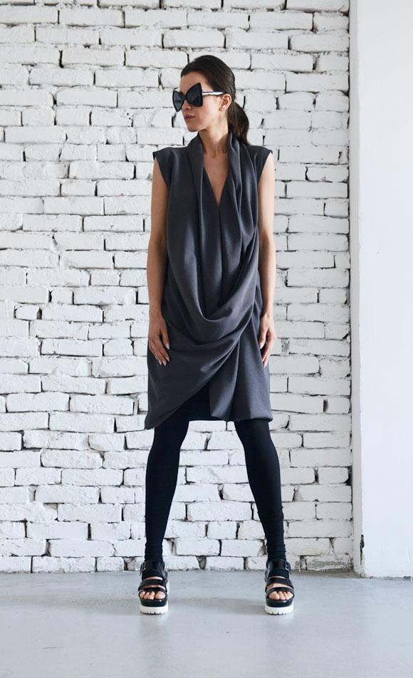 rebelsmarket_dark_grey_midi_dress_short_draped_dress_grey_tunic_top_long_dark_grey_dresses_6.jpg
