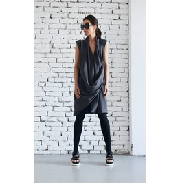 Dark Grey Midi Dress / Short Draped Dress/ Grey Tunic Top/ Long Dark Grey