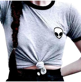 Awesome Grey T Shirt With Black Edging And Alien Mofit Small Size