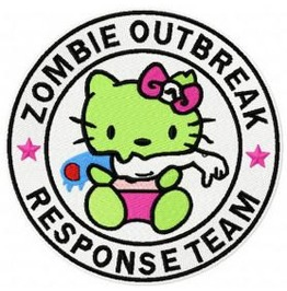 Embroidered Hello Kitty Zombie With Arm Response Team Iron/Sew On Patch