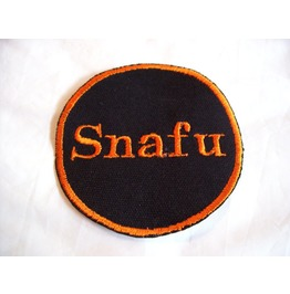 Embroidered Snafu Iron On/ Sew On Patch Badge Orange/Black