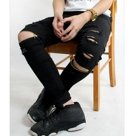 Men's Ripped / Zipped Skinny Jeans