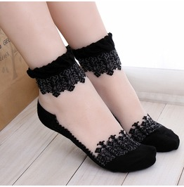 Black Floral Lace Socks