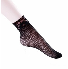Black Floral Lace Socks P10