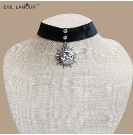 Handmade Black Sun Undefined Punk Gothic Necklace Nk 9