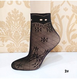 Black Floral Lace Socks L2