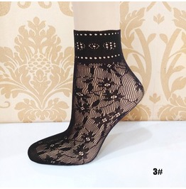 Black Floral Lace Socks L3