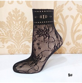 Black Floral Lace Socks L5
