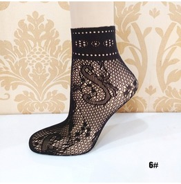 Black Floral Lace Socks L6