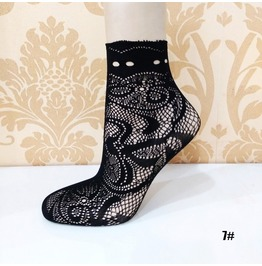 Black Floral Lace Socks L7