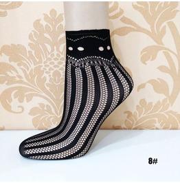 Black Floral Lace Socks L8